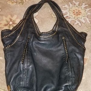 Kooba Tracy Studded Black Leather Hobo Bag EUC boh